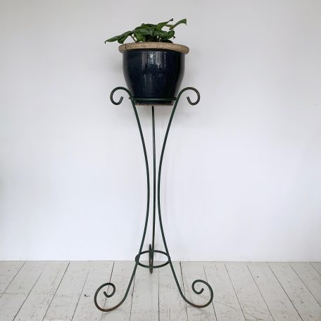 Vintage French greened wrought iron plant stand