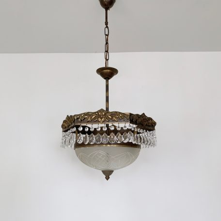 French Hexagon Brass Frame Hall Pendant with Frosted Glass Shade