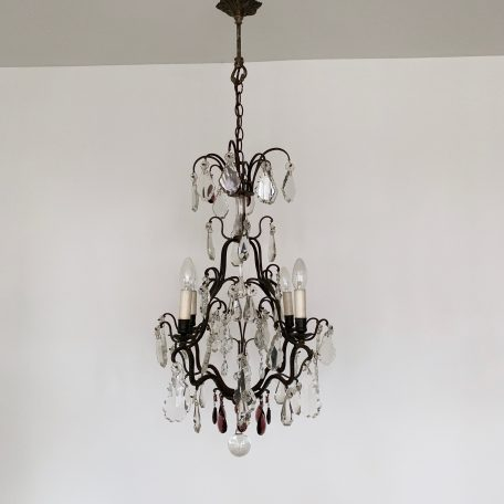 Large 20th Century Brass Birdcage Chandelier with Clear Glass, Crystal and Purple Glass Drops