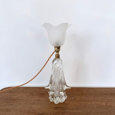 French 1930s decorative crystal lamp. Rewired with antique brass finish fittings and whiskey braided flex.