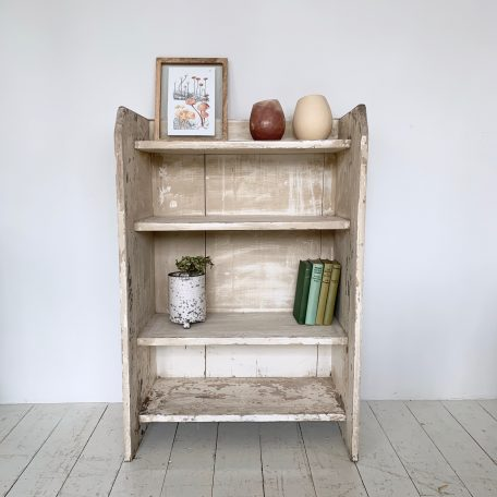 Naturally Distressed Cream Painted Solid Wood Shelf