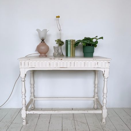 Naturally Distressed White Painted Solid Wood Table