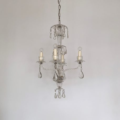 1920s French Crystal Chandelier with Flat Teardrops