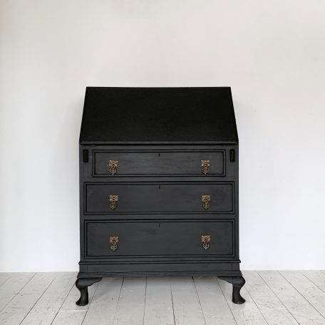 Vintage Bureau painted in Annie Sloan Chalk Paint in Athenian Black