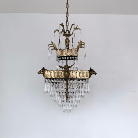 1920s Square French waterfall chandelier with glass icicle drops.