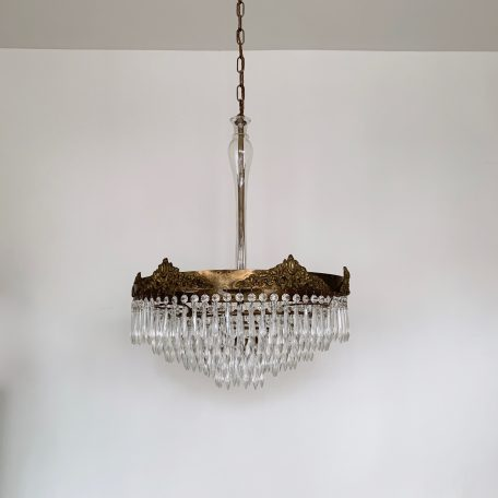French Brass Waterfall Chandelier with Glass Stem