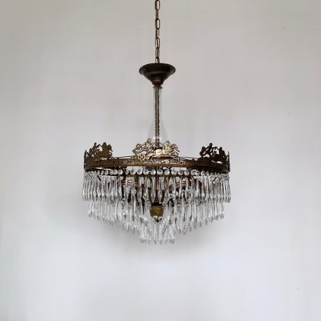 Large Continental Waterfall Chandelier with Glass Stem