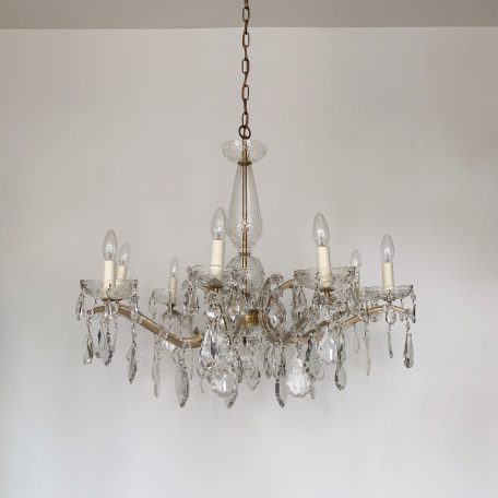 Large Marie Therese Chandelier with Glass Flat Leaf Drops and Crystal