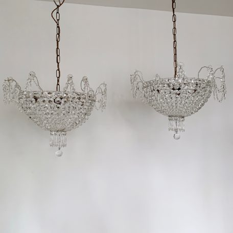 Pair of Italian 1930s Crystal Basket Chandeliers