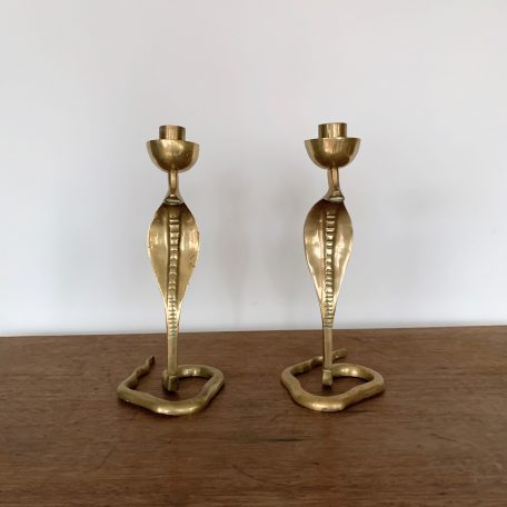 Art Nouveau Solid Brass Cobra Candle Sticks