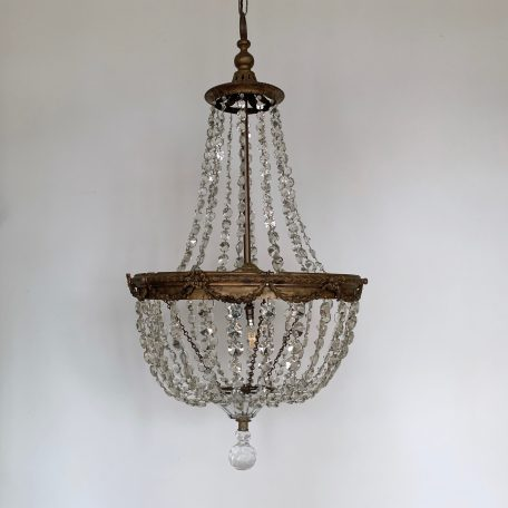 Early 1900s large French tent and bag chandelier made from strings of lead cut crystal buttons.