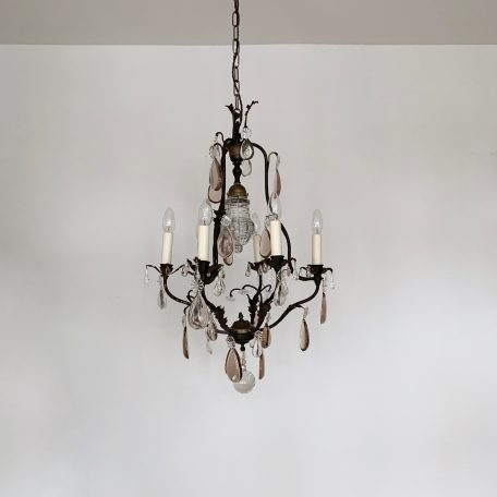 Early 1900s Italian delicate bras Birdcage chandelier with floral details and smooth clear and purple teardrops.