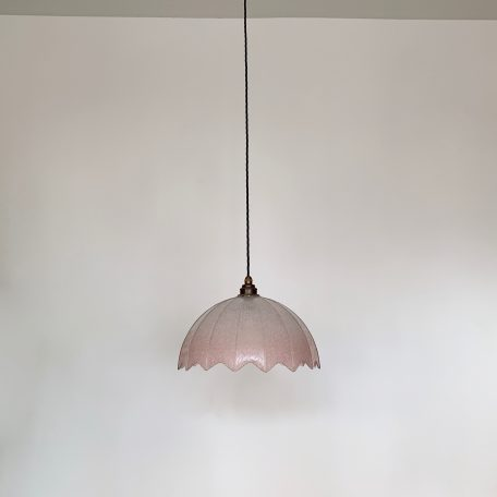 French Pink Glass Floral Domed Shade