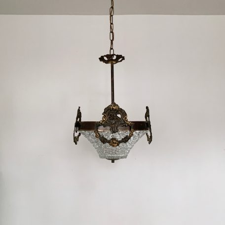 Heavy Cast Ornate Brass Hall Pendant with Faceted Glass Shade
