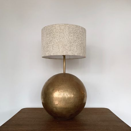 Large French Mid Century Globe Hammered Brass Lamp