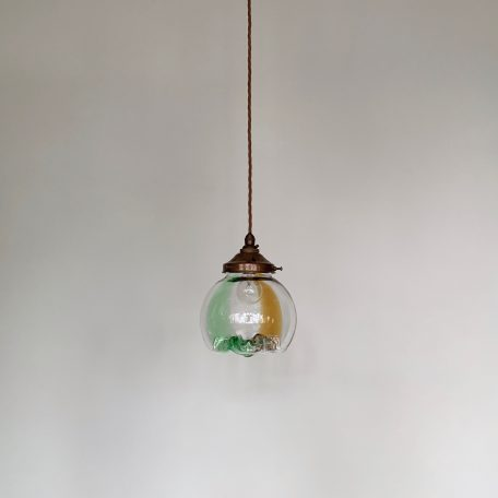 Mid Century green, brown and clear Murano polished glass shade