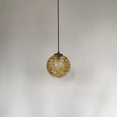 Thick Textured Amber Glass Globe Shade