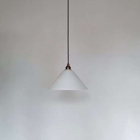 White conical polished glass shade