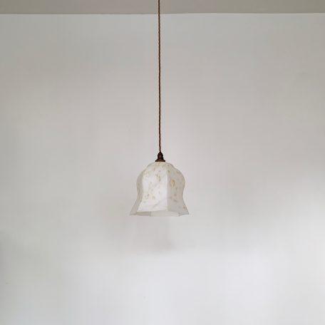 White Mottled Glass Shade with Hexagon Edge