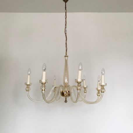 1930s Amber Glass Valle St. Lambert Swan Neck Chandelier