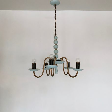 1930s French turquoise painted wooden chandelier with oxidised brass central stem and arms