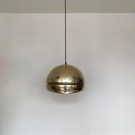 1970's retro pendant with agold effect aluminium large sphericalshade