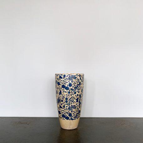 Ceramic Vase with Blue Floral Design