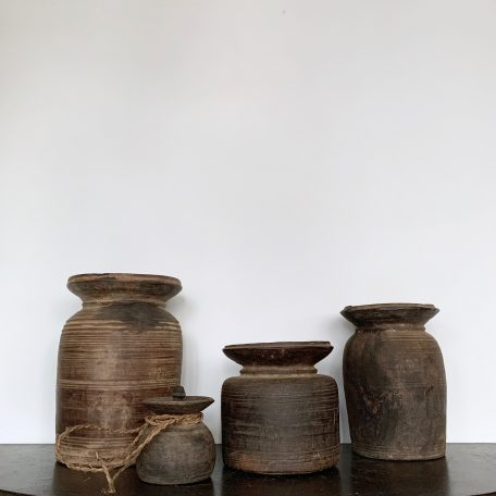 Collection of 18th Century Himalayan Curd Pots