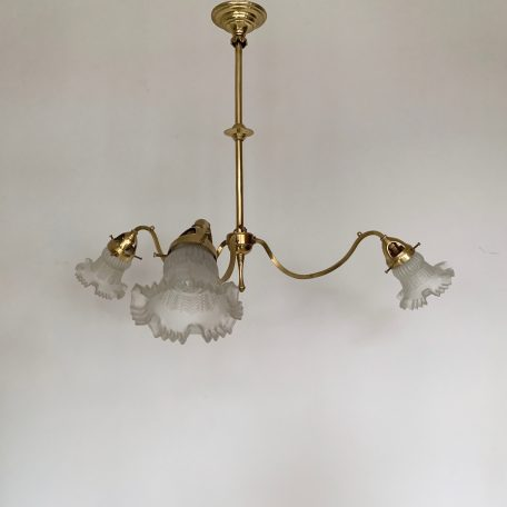 Edwardian three arm polished brass chandelier with frosted frill shades
