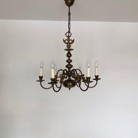 Flemish Style Dark Brass Chandelier