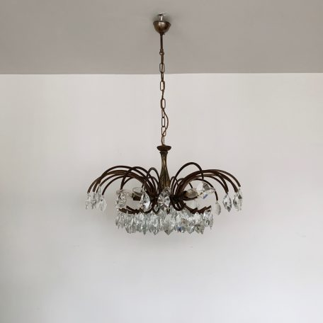 French Brass Chandelier with Crystal Iceberg Drops
