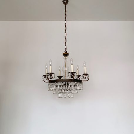 French Brass Waterfall Chandelier with Small Crystal Icicles