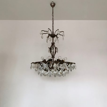 French Dark Brass Multi Arm Chandelier with Crystal Iceberg Drops