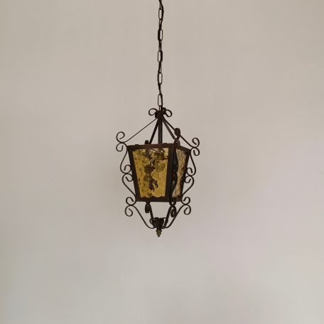 French Decorative Lantern with Yellow Glass
