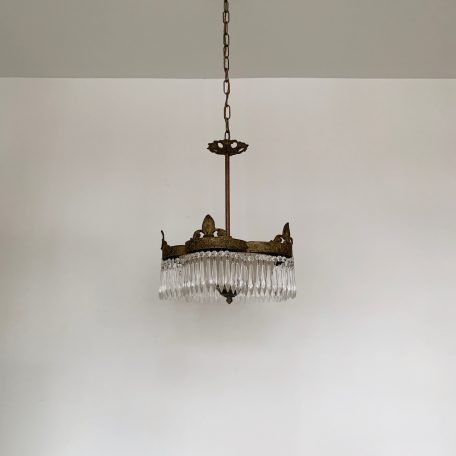 French Ornate Hall Light with Frosted Glass Shade and Icicle Glass Drops