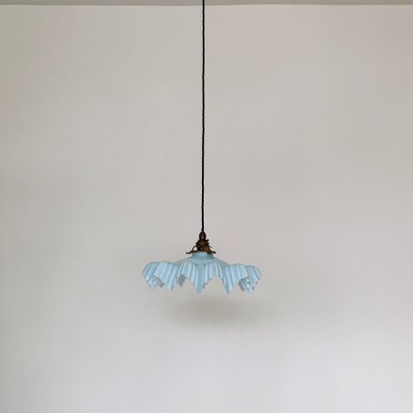 French Pale Blue Milk Glass Frill Shade