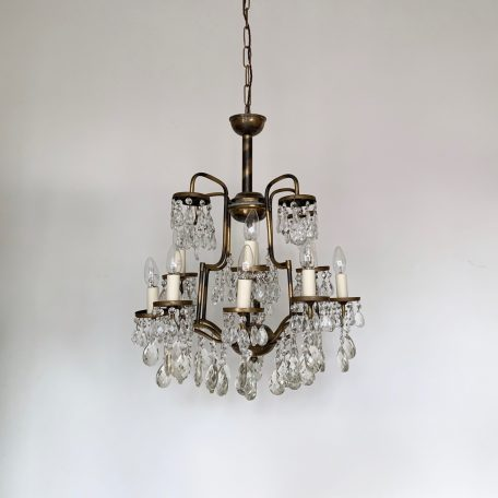 French Tubular Brass Birdcage Chandelier with Glass Harlequin Pear Drops