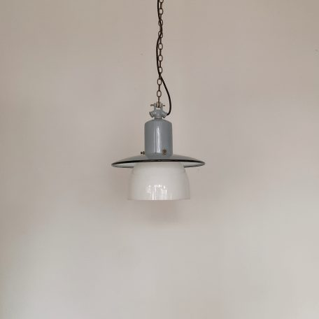 German Industrial Enamel Pendant with White Polished Glass Shade