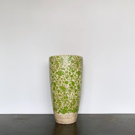 Large Ceramic Vase with Green Floral Design