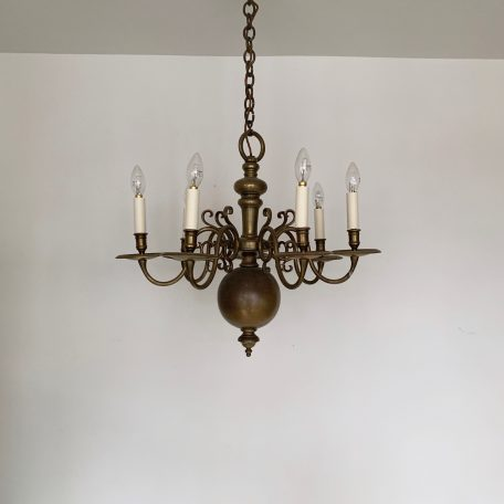 Large Flemish Style Brass Chandelier