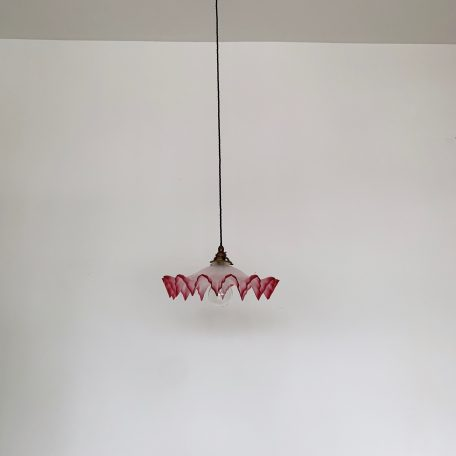 Large French Frosted and Cranberry Glass Shade