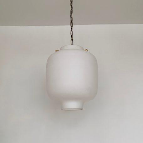 Large Matt White Glass Shade with Brass Details
