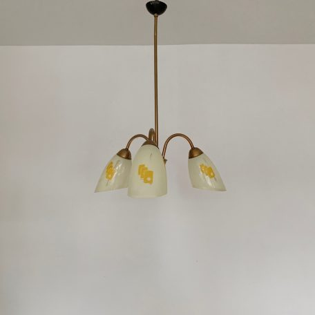Mid Century French Chandelier with Yellow Geometric Patterned Shades