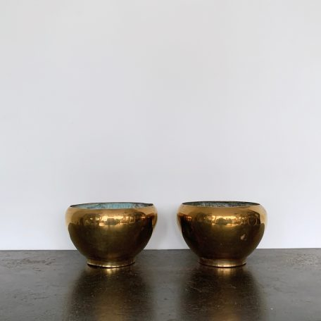 Pair of French Polished Brass Planters