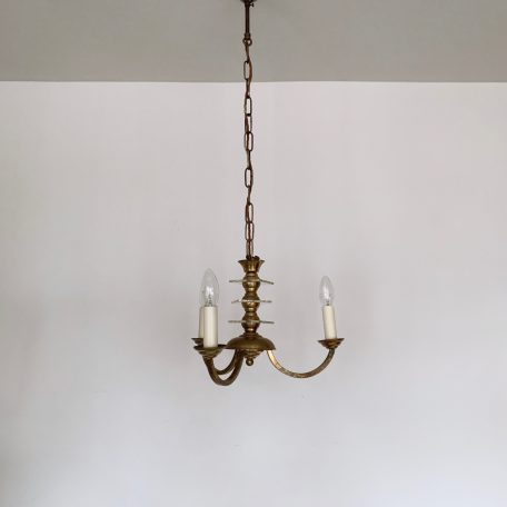 Small Aged Brass Three Arm Chandelier with Square Cut Glass Stem Details