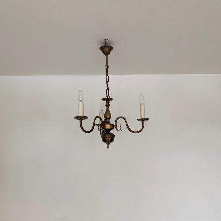 Small Flemish Style Three Arm Chandelier