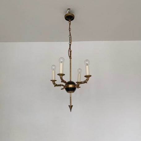 Small French Decorative Brass and Black Arrow Chandelier