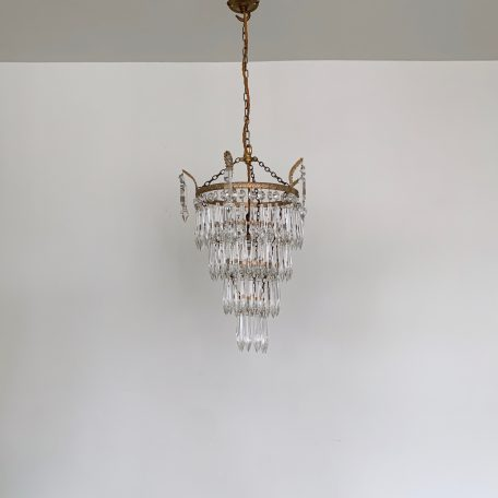 Small Waterfall Chandelier with Glass Icicle Drops