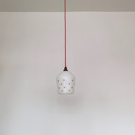Small White Polished Glass Shade with Red Spot Design