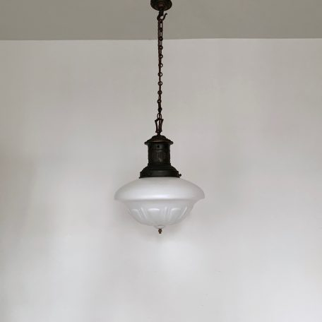 1920s Milk Glass School House Shade with Original Ornate Copper Gallery